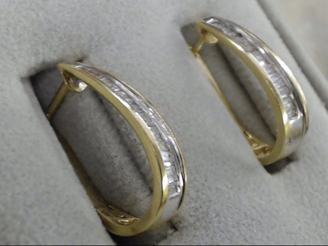 VINTAGE DIAMOND BAGUETTE LONG HOOP POST EARRINGS SOLID REAL 14K GOLD
