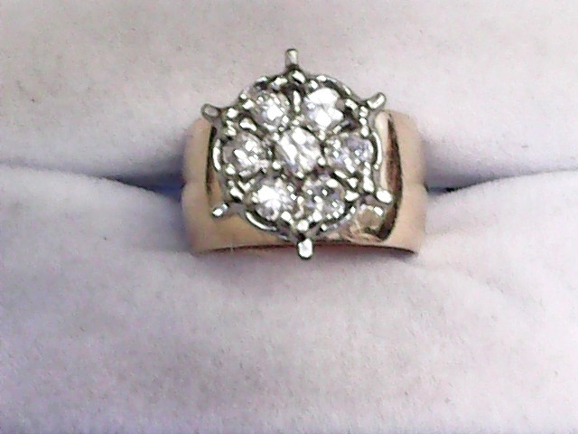 Lady's Diamond Cluster Ring 7 Diamonds .75 Carat T.W. 14K Yellow Gold 6.3dwt