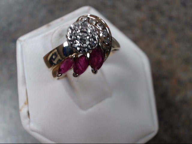 Synthetic Ruby Lady's Stone & Diamond Ring 13 Diamonds .13 Carat T.W.