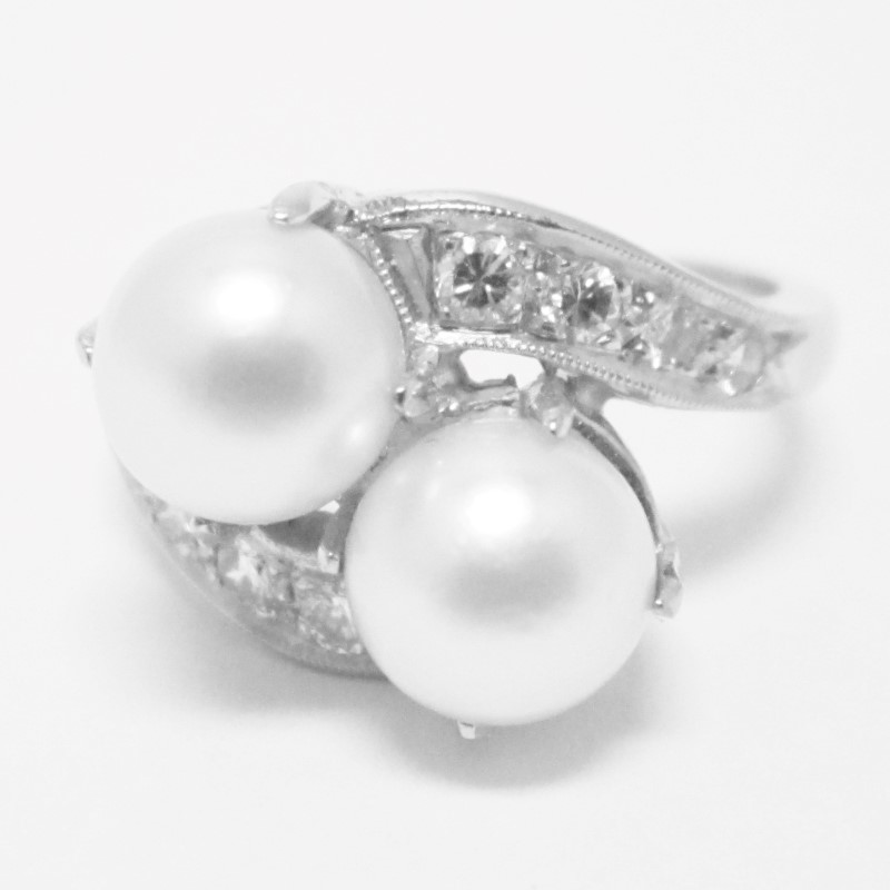 Pearl Lady's Stone & Diamond Ring 8 Diamonds .16 Carat T.W. 14K White Gold