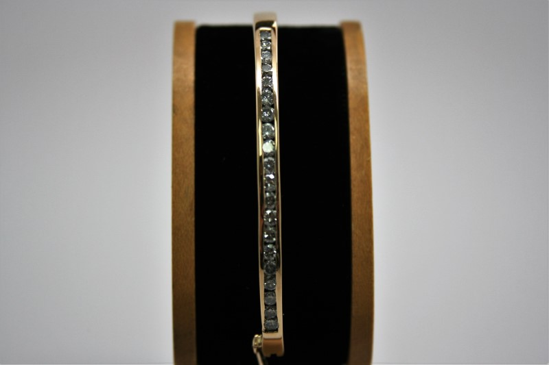 BANGLE CUFF DIAMOND BRACELET 14K YELLOW GOLD