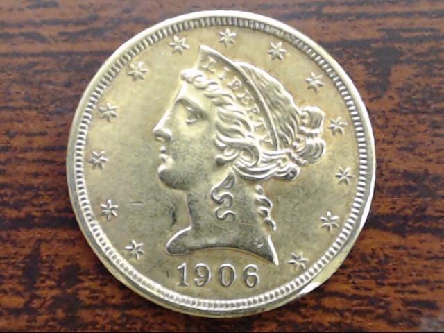 1906 $5 Liberty Head Five Dollar Gold Half Eagle Coin