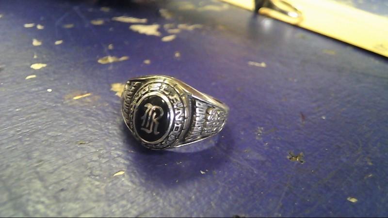 Black Stone Gent's Stone Ring 10K White Gold 7g