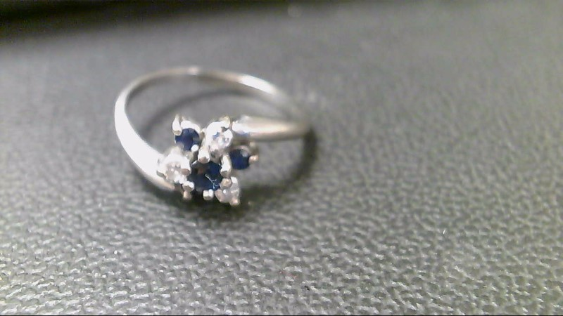 Synthetic Sapphire Lady's Stone & Diamond Ring 3 Diamonds .15 Carat T.W.