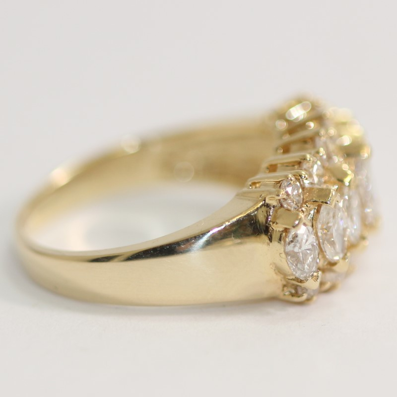 14K Y/G Marquise & Round Brilliant Diamond Cluster Ring Size 7.3