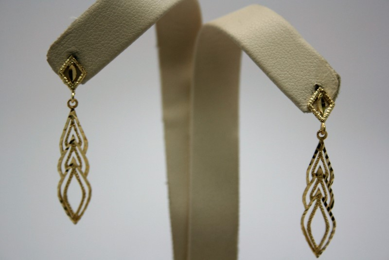 DIAMOND CUT STYLE DANGLE EARRINGS 14K YELLOW GOLD
