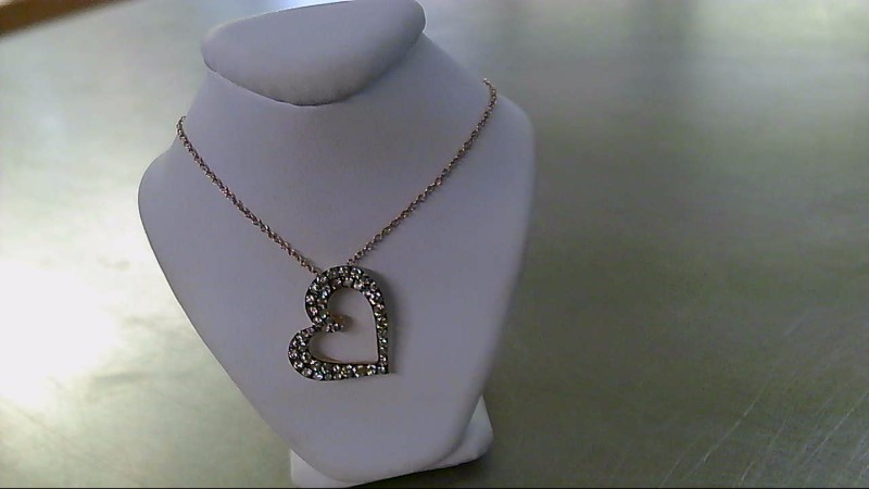 Diamond Necklace 45 Diamonds .77 Carat T.W. 14K Rose Gold 2.8g