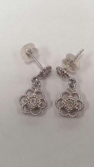 Silver-Diamond Earrings 4 Diamonds .04 Carat T.W. 925 Silver 3.7g