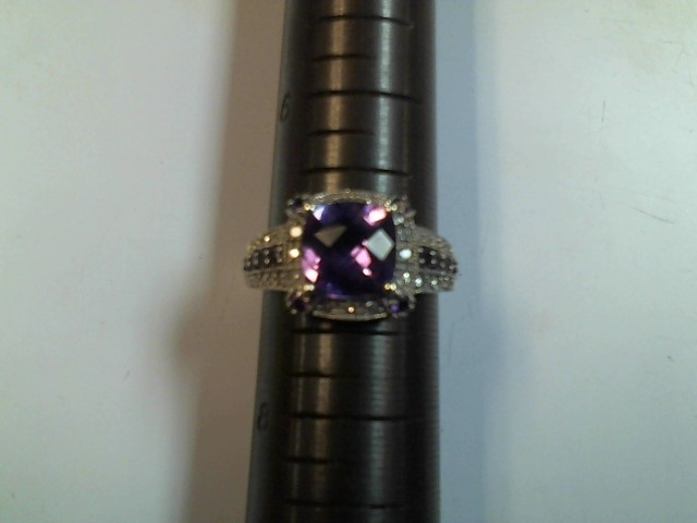 Synthetic Amethyst Lady's Stone Ring 14K White Gold 3.8g