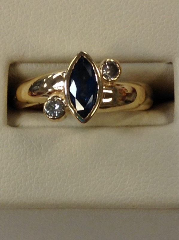 Synthetic Sapphire Lady's Stone & Diamond Ring .03 CT. 14K Yellow Gold 4.4g