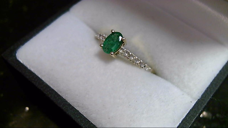 Emerald Lady's Stone & Diamond Ring 4 Diamonds .04 Carat T.W. 10K Yellow Gold