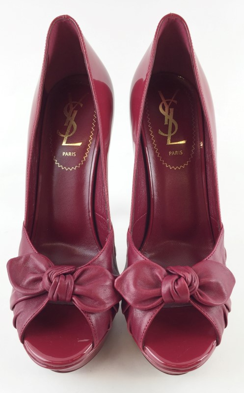 YVES SAINT LAURENT BOW EMBELLISHED PUMPS SZ 36E 6US
