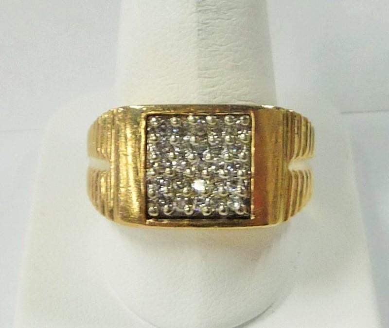 Gent's Diamond Fashion Ring 25 Diamonds .75 Carat T.W. 10K Yellow Gold 7.5dwt