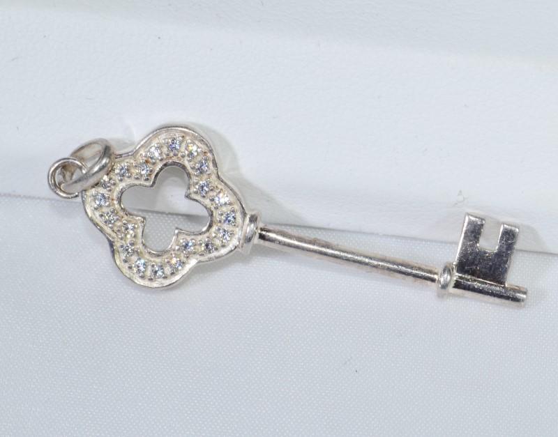 Sterling Silver Dazzling Key Pendant