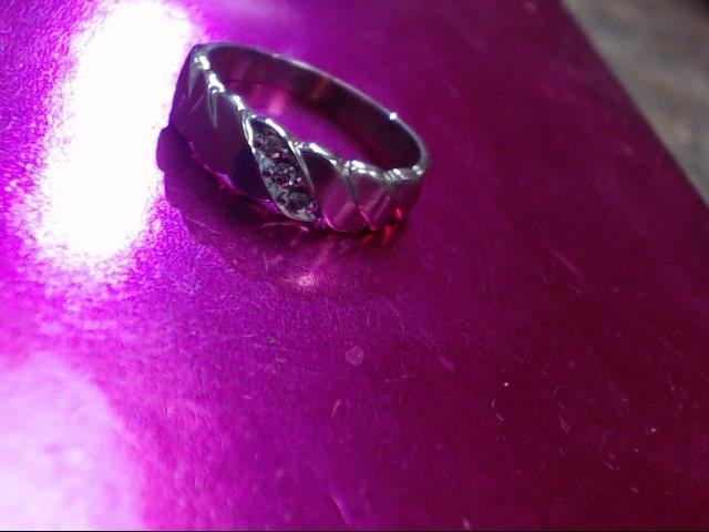 Lady's Diamond Wedding Band 3 Diamonds .03 Carat T.W. 14K White Gold 2.2dwt