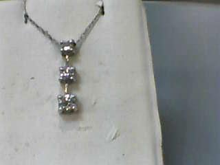 "18"" Diamond Necklace 3 Diamonds .55 Carat T.W. 14K White Gold 1.1dwt"