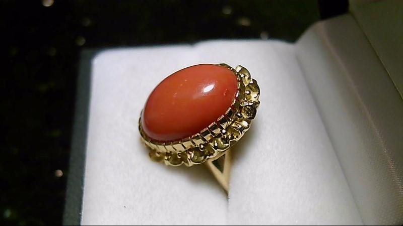 Coral Lady's Stone Ring 18K Yellow Gold 6.38g Size:6.75