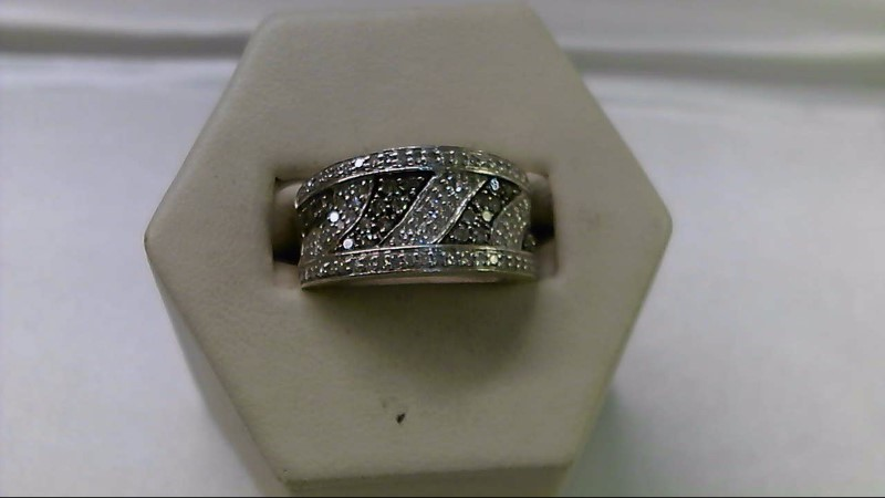 Lady's Silver-Diamond Ring 116 Diamonds 1.010 Carat T.W. 925 Silver 5.5g
