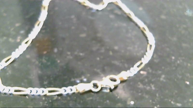 sterling silver 925 gold overlay figaro bracelet