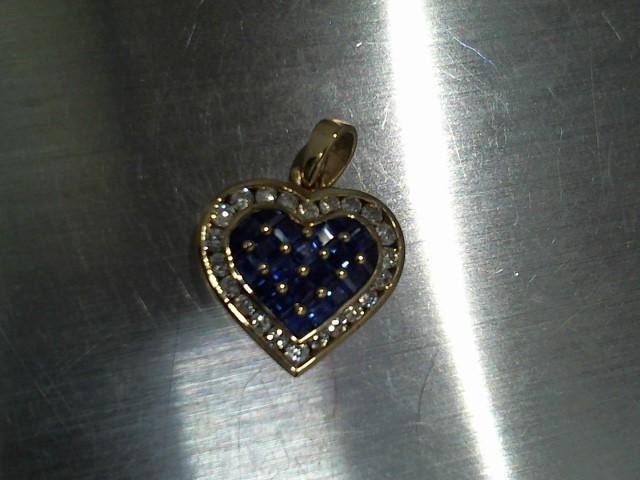 Synthetic Sapphire Gold-Diamond & Stone Pendant 22 Diamonds .66 Carat T.W.