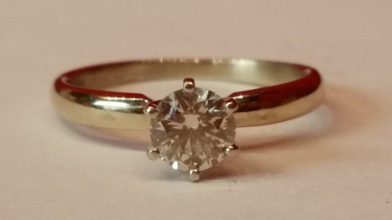 Lady's Diamond Solitaire Ring .75 CT. 18K White Gold 3.6g Size:9