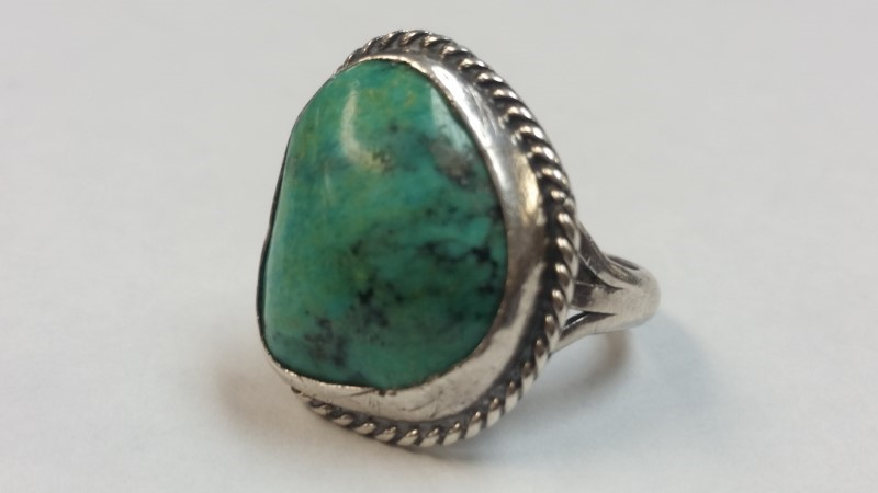 Native American Indian .925 Silver Ring Blue Turquoise