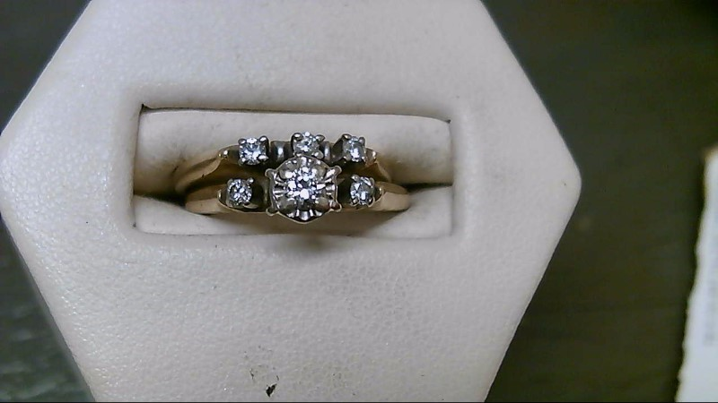 Lady's Diamond Wedding Set 6 Diamonds .25 Carat T.W. 14K Yellow Gold 3.9g
