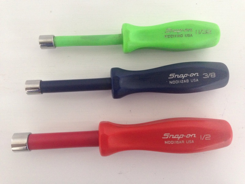 Snap On Nut Driver 3pc Set 11/32, 3/8, 1/2 Red, Green, Black