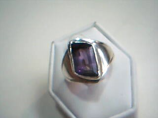 Synthetic Amethyst Lady's Silver & Stone Ring 925 Silver 5g Size:6