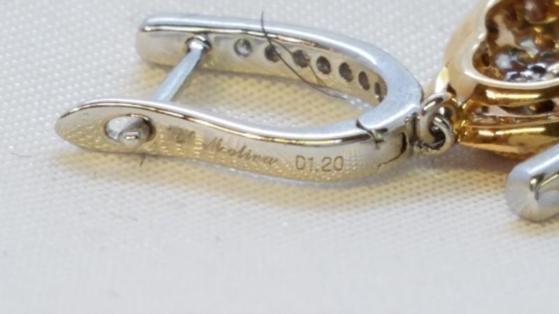 Gold-Diamond Earrings 34 Diamonds .204 Carat T.W. 18K 2 Tone Gold 5.7g