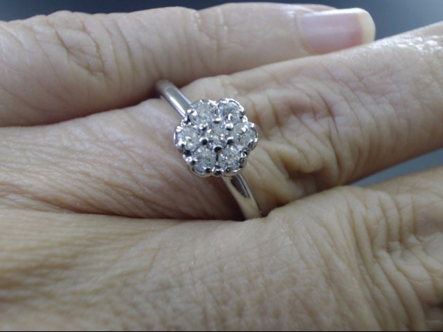 VINTAGE NATURAL DIAMOND CLUSTER RING SOLID 14K WHITE GOLD SIZE 10.5