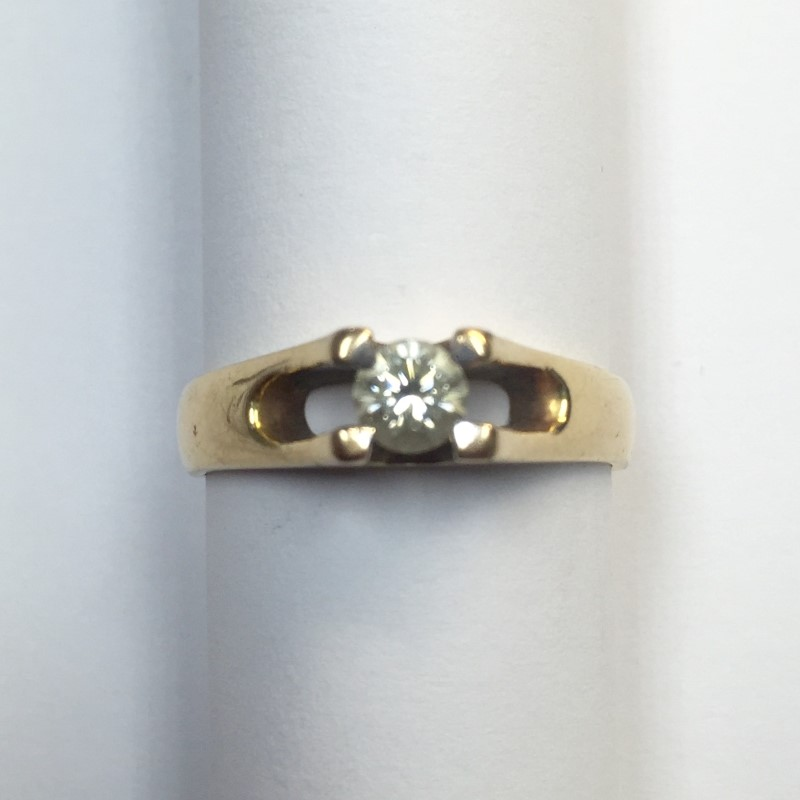 Gent's Diamond Solitaire Ring .36 CT. 14K Yellow Gold 3.4dwt