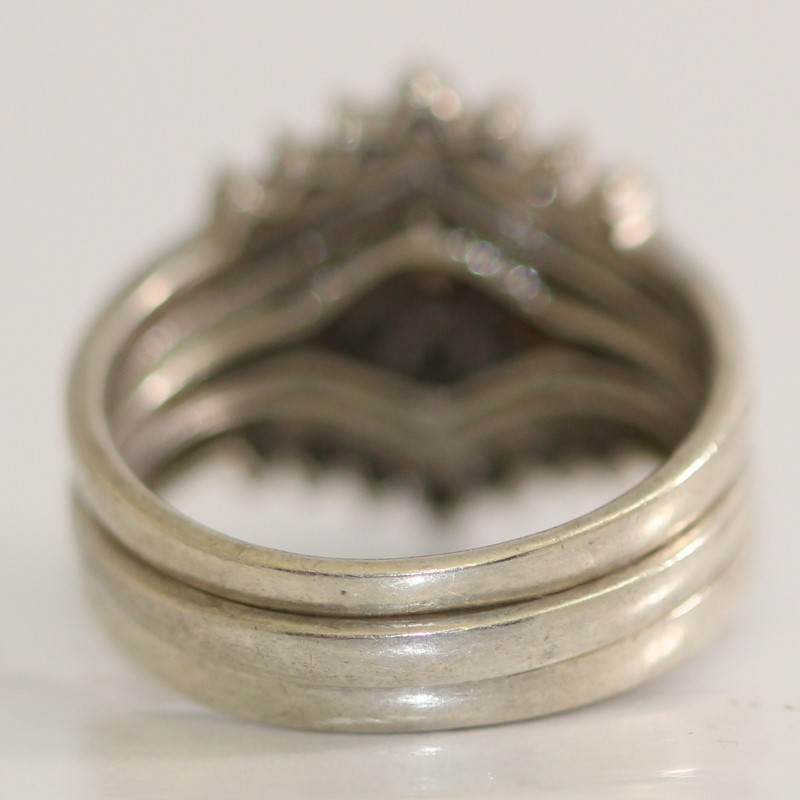 Sterling Silver Wedding Ring Set Size 6.75