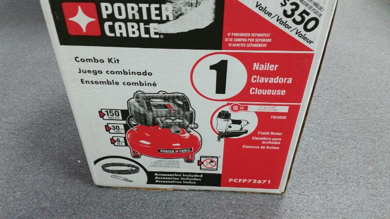 *NEW* Porter Cable 6 Gal 150PSI Air Compressor & 16ga Nailer Combo Kit PCFP72671