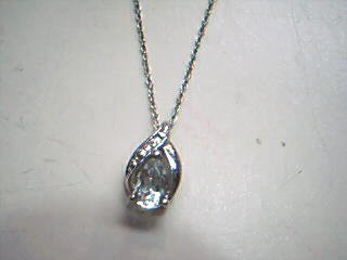 Synthetic Aquamarine Diamond & Stone Necklace .01 CT. 925 Silver 1.1g