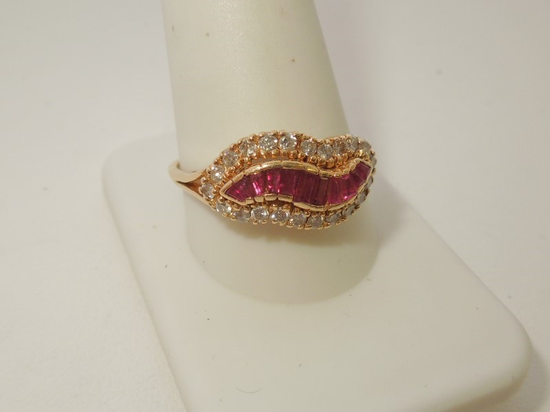 Synthetic Ruby Lady's Stone & Diamond Ring 23 Diamonds .46 Carat T.W.