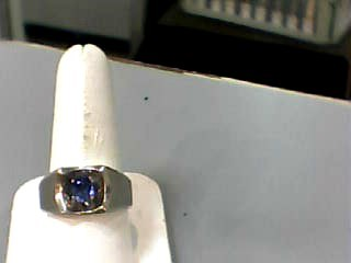Sapphire Gent's Stone Ring 14K White Gold 7.2dwt Size:9.7