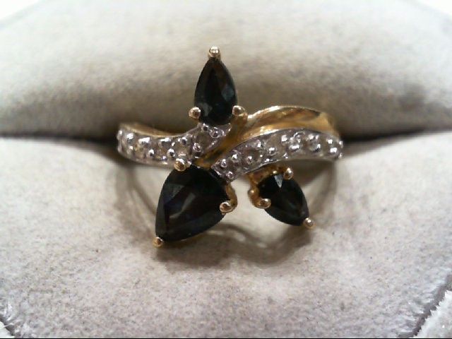 Sapphire Lady's Stone & Diamond Ring 11 Diamonds .11 Carat T.W. 14K Yellow Gold