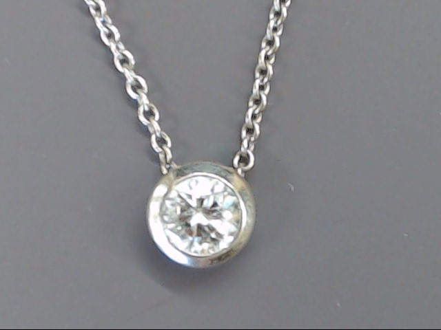 """NATURAL DIAMOND 0.90 TCW SOLITAIRE 18"""" NECKLACE 14K WHITE GOLD 3.7g"""