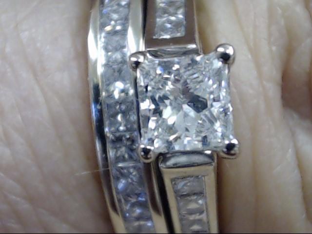 VINTAGE PRINCESS DIAMOND WEDDING SET RING BAND 14K WHITE GOLD SZ 6.5