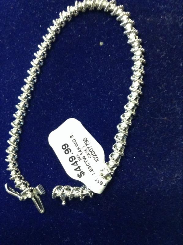 Gold-Diamond Bracelet 61 Diamonds 1.83 Carat T.W. 14K White Gold 8.3g