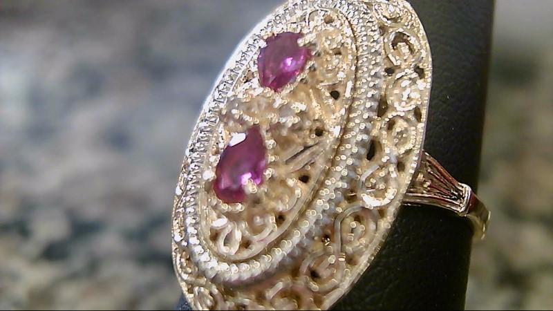 Ruby Lady's Stone & Diamond Ring 2 Diamonds .02 Carat T.W. 10K Yellow Gold 5.2g