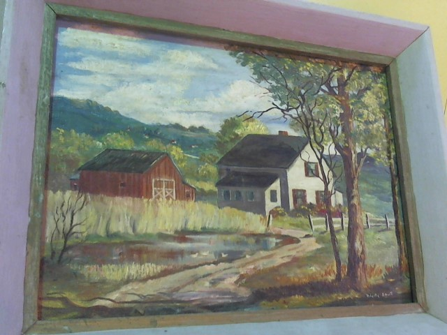 12X9 ROBERTA SMART PAINTING-BARN AND HOUSE