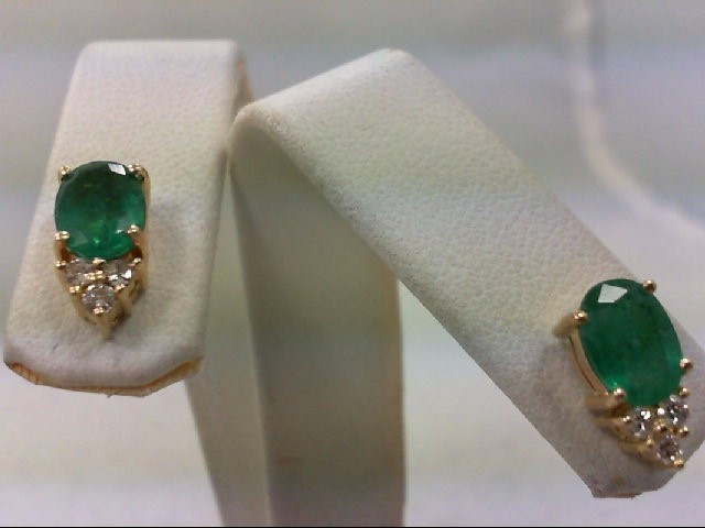 Emerald Gold-Diamond & Stone Earrings 6 Diamonds .12 Carat T.W. 14K Yellow Gold