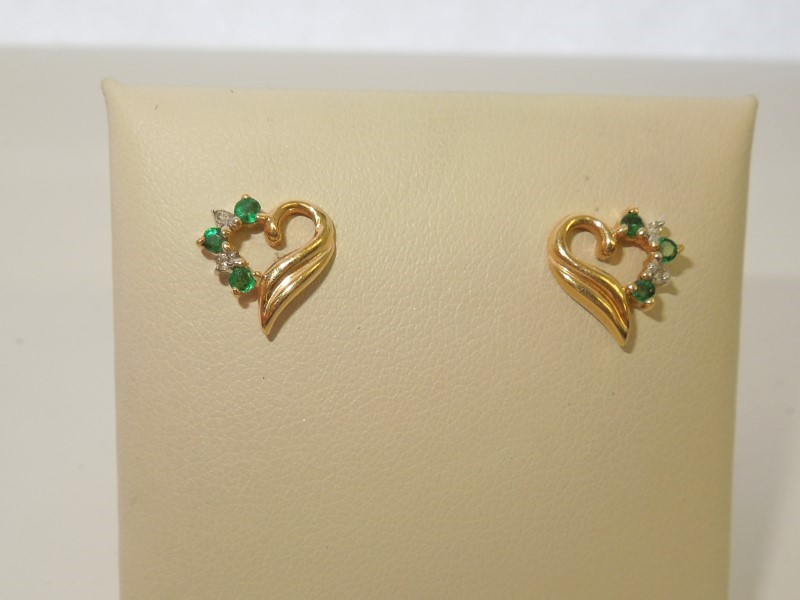 Synthetic Emerald Gold-Diamond & Stone Earrings 4 Diamonds .020 Carat T.W.