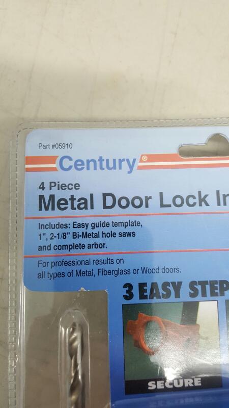 Century Drill and Tool 05910, 4 Piece Metal Door Lock Installation Kit