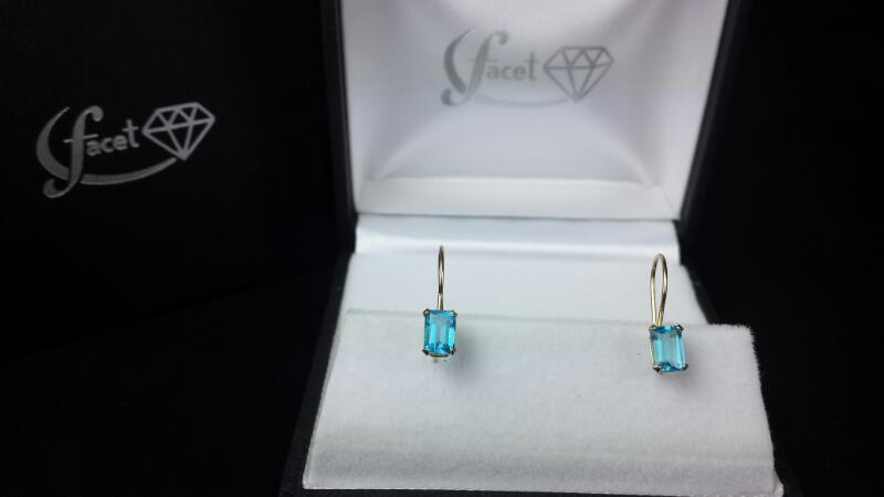 Estate Blue Topaz Gold-Stone Dangle Earrings 14K Yellow Gold 1.1g