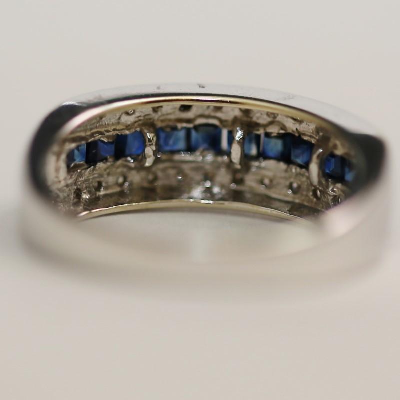 10K White Gold Princess Sapphires and Brilliant Diamonds Ring Size 7