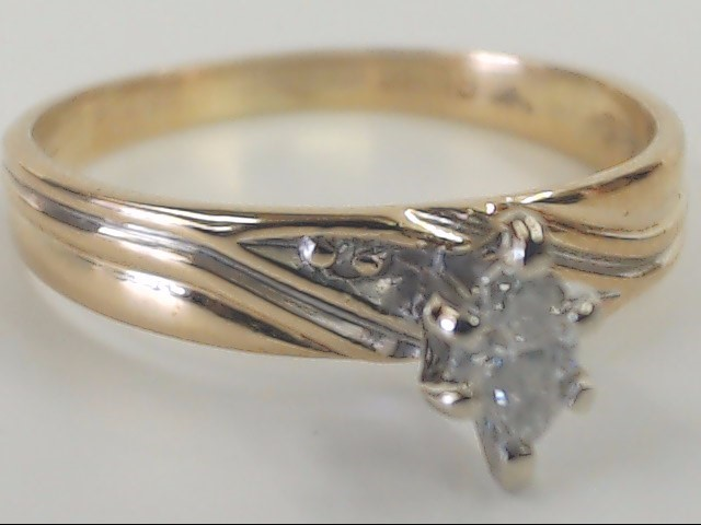 VINTAGE MARQUISE NATURAL DIAMOND RING SOLID 14K GOLD ENGAGE WED SZ 6