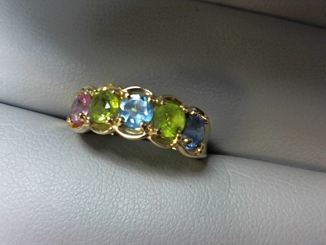 Blue Stone Lady's Stone Ring 14K Yellow Gold 3g